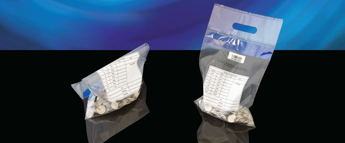 The X-Safe Coin Clearance bag is a heavy duty plastic bag with an ultra-strong hotmelt adhesive that enables the bag to hold at least 8kg of weight.